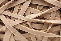 Heap of rubber bands, close-up