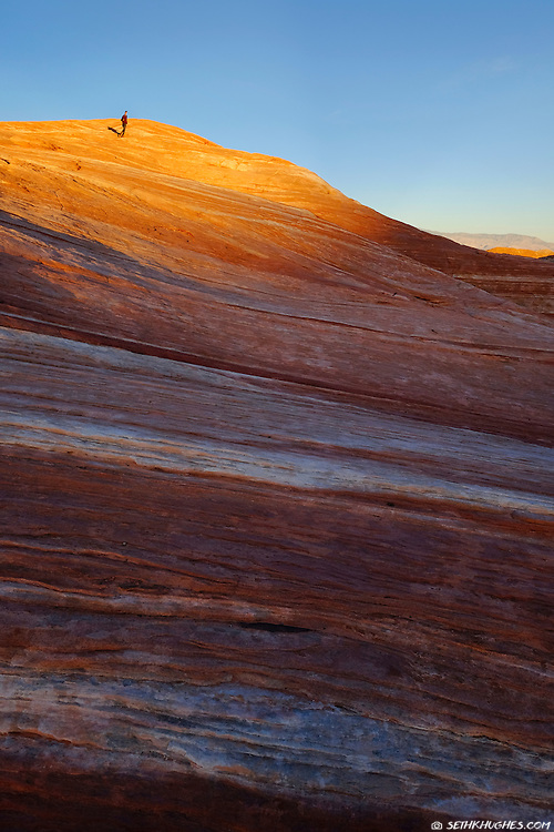 A hiker explores the striped sandstone features during sunset at Valley of Fire State Park, Nevada.