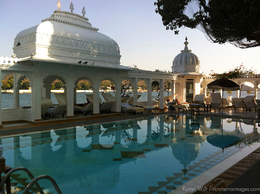 Asia, India, Udaipur. Terrace pool at the Taj Lake Palace Hotel.