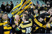 Andre Taylor celebrates with fans after winning the Ranfurly Shield, ITM Cup, Rugby Union. Southland v Taranaki at Rugby Park Stadium, Invercargill, New Zealand. Wednesday 24 August 2011. New Zealand. Photo: Richard Hood/photosport.co.nz
