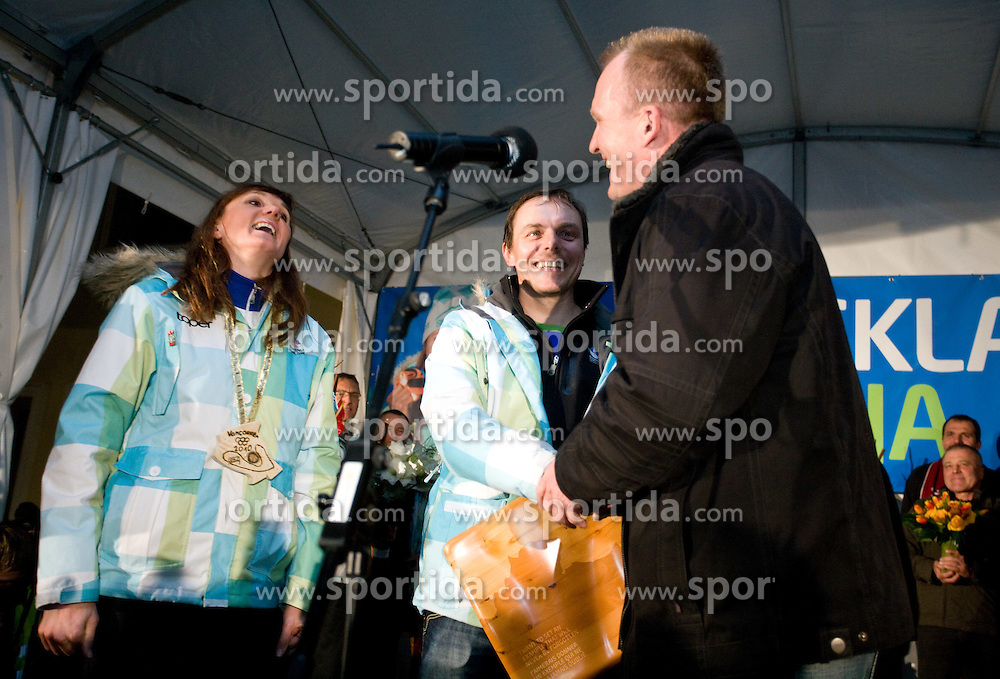 Slovenian bronze medalist cross-country skier Petra Majdic with coaches Ivan Hudac and Robert Slabanja at reception at her home town Dol pri Ljubljani after she came from Vancouver after Winter Olympic games 2010, on March 1, 2010 in Dol pri Ljubljani, Slovenia. (Photo by Vid Ponikvar / Sportida)