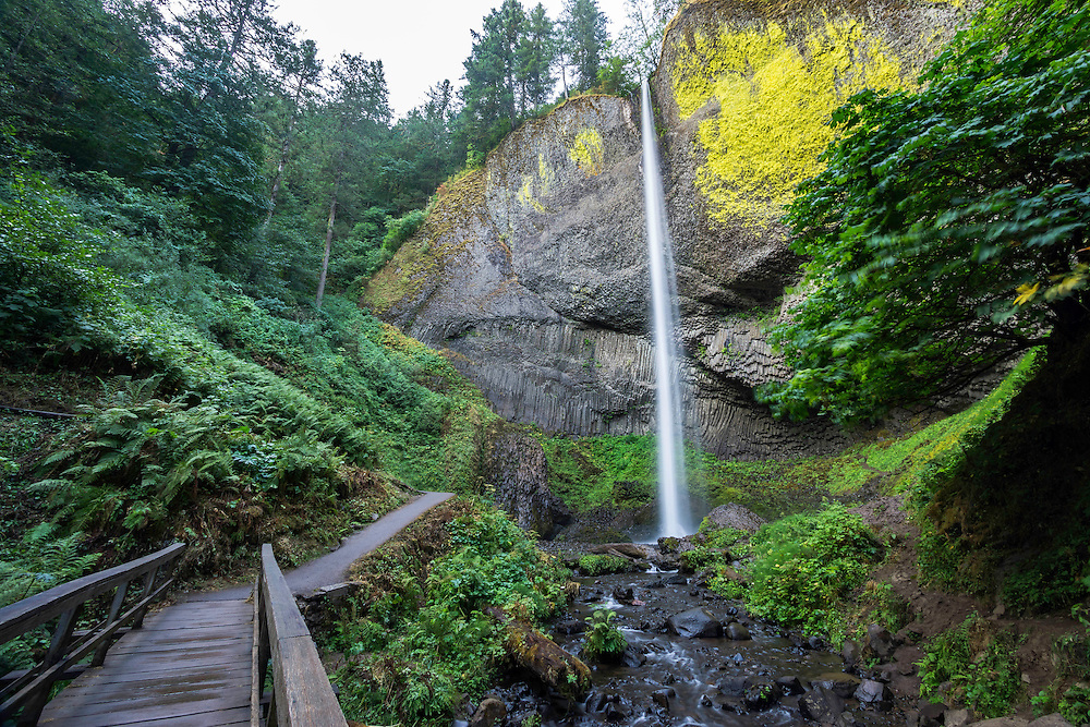 Latourell Falls in the Columbia River Gorge is a popular tourist spot not far from the main road.