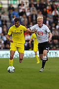 Will Hughes and Leonardo Carrilho Baptistao during the Pre-Season Friendly match between Derby County and Villarreal CF at the iPro Stadium, Derby, England on 29 July 2015. Photo by Aaron Lupton.