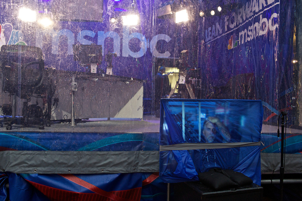 MSNBC's set is wrapped with plastic to cover from rain after a live taping of Hardball with Chris Matthews a day before the 2012 Democratic National Convention in Charlotte, N.C. on Sept. 3, 2012.  Photo by Greg Kahn