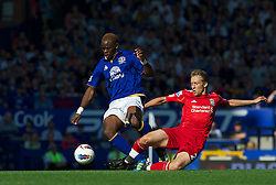LIVERPOOL, ENGLAND - Saturday, October 1, 2011: Liverpool's Lucas Leiva in action against Everton's Louis Saha during the Premiership match at Goodison Park. (Pic by David Rawcliffe/Propaganda)