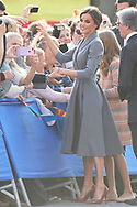 Queen Letizia of Spain, Crown Princess Leonor arrived to Alfonso II Square (Cathedral's Square) for Princesa de Asturias Awards 2019 on October 17, 2019 in Oviedo, Spain