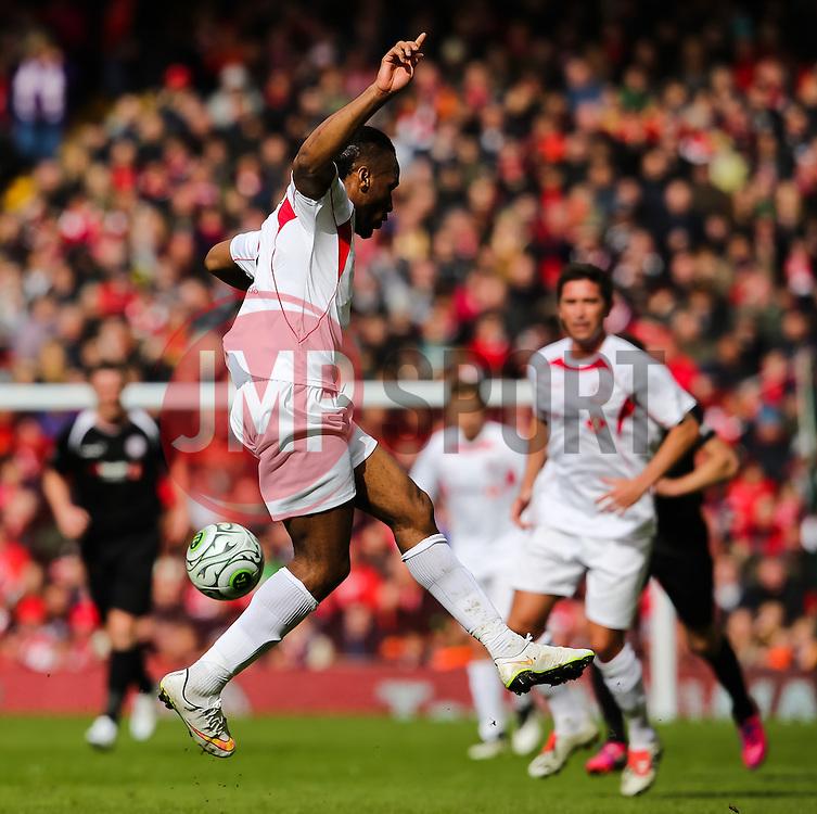Dider Drogba flicks the ball - Photo mandatory by-line: Matt McNulty/JMP - Mobile: 07966 386802 - 29/03/2015 - SPORT - Football - Liverpool - Anfield Stadium - Gerrard's Squad v Carragher's Squad - Liverpool FC All stars Game