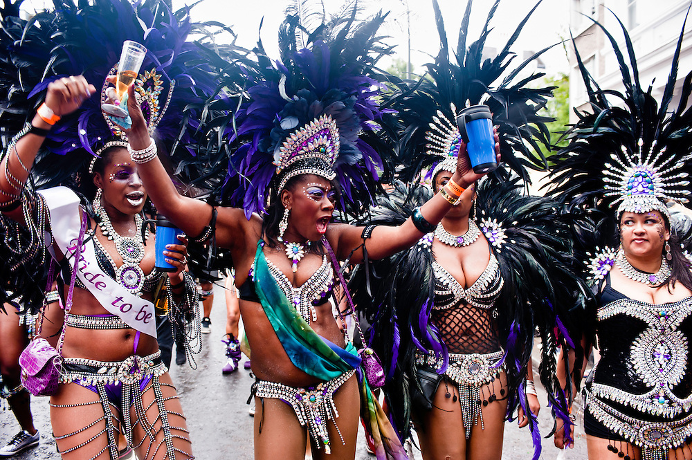 London, UK - 27 August 2012: revellers take part in the parade during the annual Notting Hill Carnival.