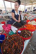 Uzbekistan, Khiva, Dekhon Bazaar.<br /> An ethnic Korean lady selling kimchi.