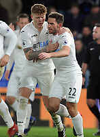 Football - 2016 / 2017 Premier League - Crystal Palace vs. Swansea City<br /> <br /> Angel Rangell of Swansea celebrates scoring the winning goal with fellow goalscorer Alfie Mawson at Selhurst Park.<br /> <br /> COLORSPORT/ANDREW COWIE