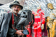 Armourer Terry English with kit he designe dfor Excalibur (Uther Pendragons Helmet and Mordreds golden armour). A collection of contemporary movie props, memorabilia and costumes to be auctioned on 16 October. It will include 375 items collected over 10 years and potentially worth more than £1 million. Highlights include:  Back to the Future: Part II -  Marty McFly's (Michael J. Fox) Mattel Hoverboard (estimated at £14,000 - £18,000); Willy Wonka and the Chocolate Factory - Wonka's (Gene Wilder) Golden Ticket (£15,000 - £20,000); Batman Forever – Remote control Batmobile model miniature (£20,000 - £30,000); Rush - 'Niki Lauda's (Daniel Brϋhl) Prop Ferrari 312T2 Formula One Car (£20,000 - £30,000); memorabiliaStar Wars: Return of the Jedi - Biker Scout helmet (£8,000-£10,000); and The Shining - Jack and Wendy's (Jack Nicholson & Shelly Duvall) Overlook Hotel Bed (£4,000-£6,000).