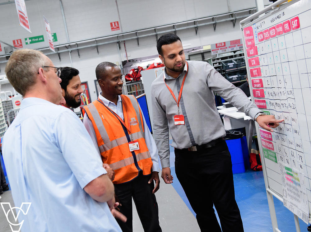 Two delivery offices, Oadby and Leicester South, which are both based inside the Leicester Mail Processing Unit building, have passed the penultimate gateway of One Plan.  One Plan is a business programme designed to have a standardised operation of excellence.  Pictured is Shahbaaz Khan, right, working with, from left, Keith Bedford, Shuaib Chowdhury and Collis Shepherd.<br /> <br /> Picture: Chris Vaughan Photography<br /> Date: July 7, 2017
