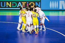 Players of Spain celebrate win after futsal semifinal match between National teams of Kazakhstan and Spain at Day 9 of UEFA Futsal EURO 2018, on February 8, 2018 in Arena Stozice, Ljubljana, Slovenia. Photo by Urban Urbanc / Sportida