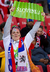 Fans of Slovenia prior to the 2010 FIFA World Cup South Africa Group C match between Slovenia and USA at Ellis Park Stadium on June 18, 2010 in Johannesberg, South Africa. (Photo by Vid Ponikvar / Sportida)