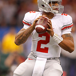 January 4, 2011; New Orleans, LA, USA;  Ohio State Buckeyes quarterback Terrelle Pryor (2) looks to throw against the Arkansas Razorbacks during the first quarter of the 2011 Sugar Bowl at the Louisiana Superdome.  Mandatory Credit: Derick E. Hingle