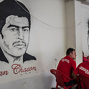A commemorative paint shows two famous syndicate leaders killed by extremists. Juan Chacon, killed in 1980 and Elizabeth Velasquez, killed by a bomb inside the syndicate center in 1989, during the war in El Salvador