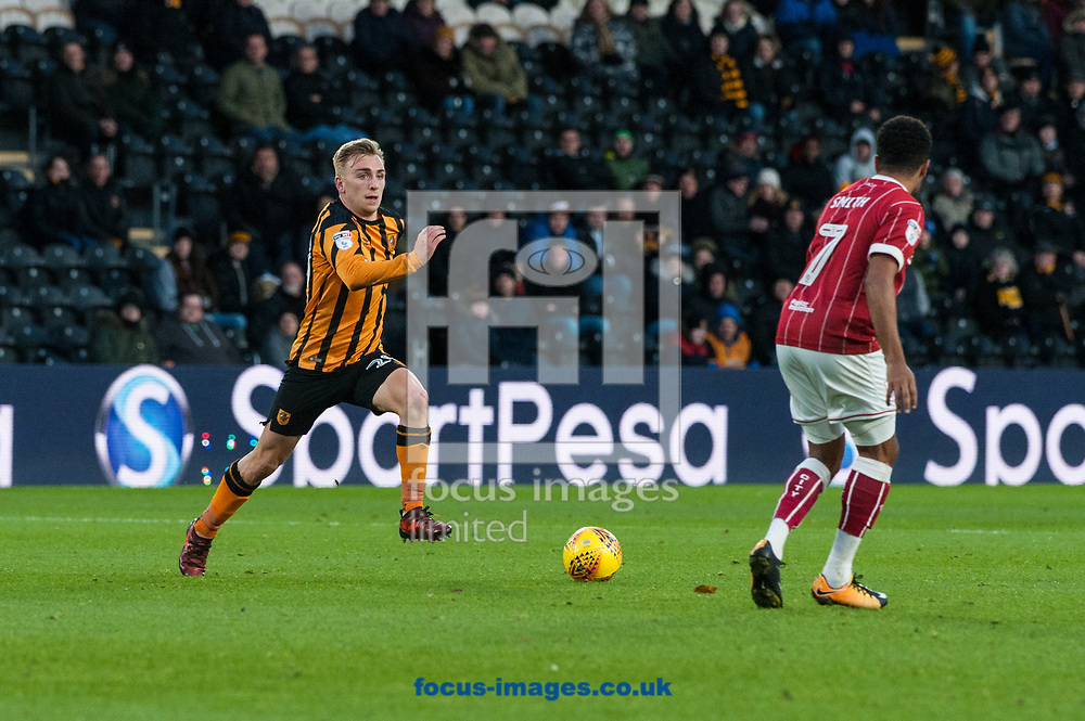 Jarrod Bowen of Hull City looks to find a way past Korey Smith of Bristol City during the Sky Bet Championship match at the KCOM Stadium, Hull<br /> Picture by Matt Wilkinson/Focus Images Ltd 07814 960751<br /> 25/11/2017