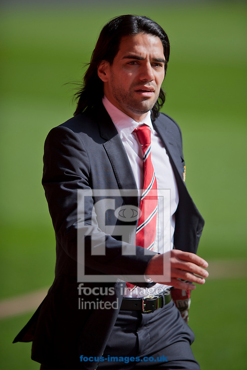 Radamel Falcao of Manchester United arrives at the stadium before the Barclays Premier League match at Anfield, Liverpool<br /> Picture by Russell Hart/Focus Images Ltd 07791 688 420<br /> 22/03/2015