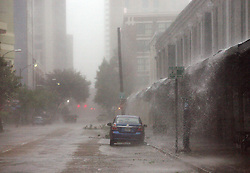 29 August 2012. New Orleans, Louisiana,  USA. <br /> Hurricane Isaac batters Downtown New Orleans on the 7th year anniversary of Hurricane Katrina.<br /> Photo; Charlie Varley/varleypix.com