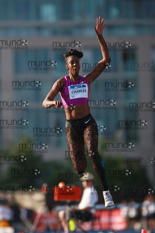 Toronto, Ontario ---10-07-30--- Tabia Charles competes in the triple jump at the 2010 Canadian Track and Field Championships in Toronto, Ontario July 30,  2010.. GEOFF ROBINS/Mundo Sport Images.