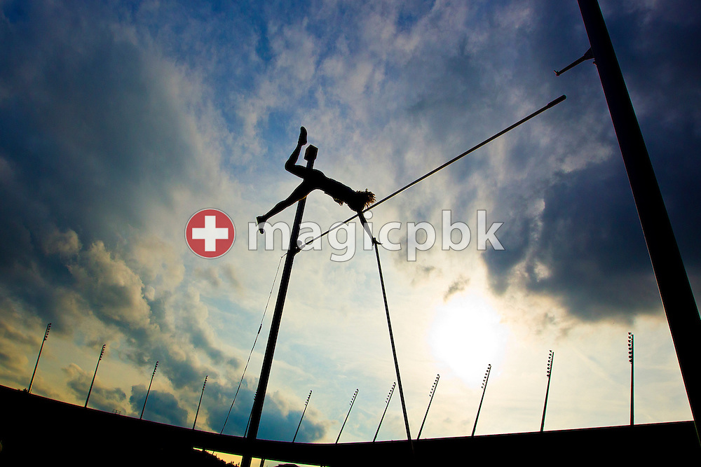 An athlete competes during the women's pole vault event during the IAAF Diamond League meeting at the Letzigrund Stadium in Zurich, Switzerland, Thursday, Aug. 19, 2010. (Photo by Patrick B. Kraemer / MAGICPBK)