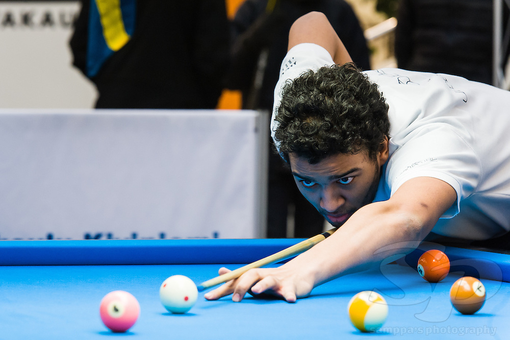 From Kvarken Pool Cup 2015. Elvis Miglans (SWE) taking a shot during 9-ball doubles against team from Vaasa, Finland.
