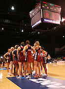 Tactix team gathered following the ANZ Championship Netball game between the Tactix v Steel at Horncastle Arena in Christchurch. 6th April 2015 Photo: Joseph Johnson/www.photosport.co.nz