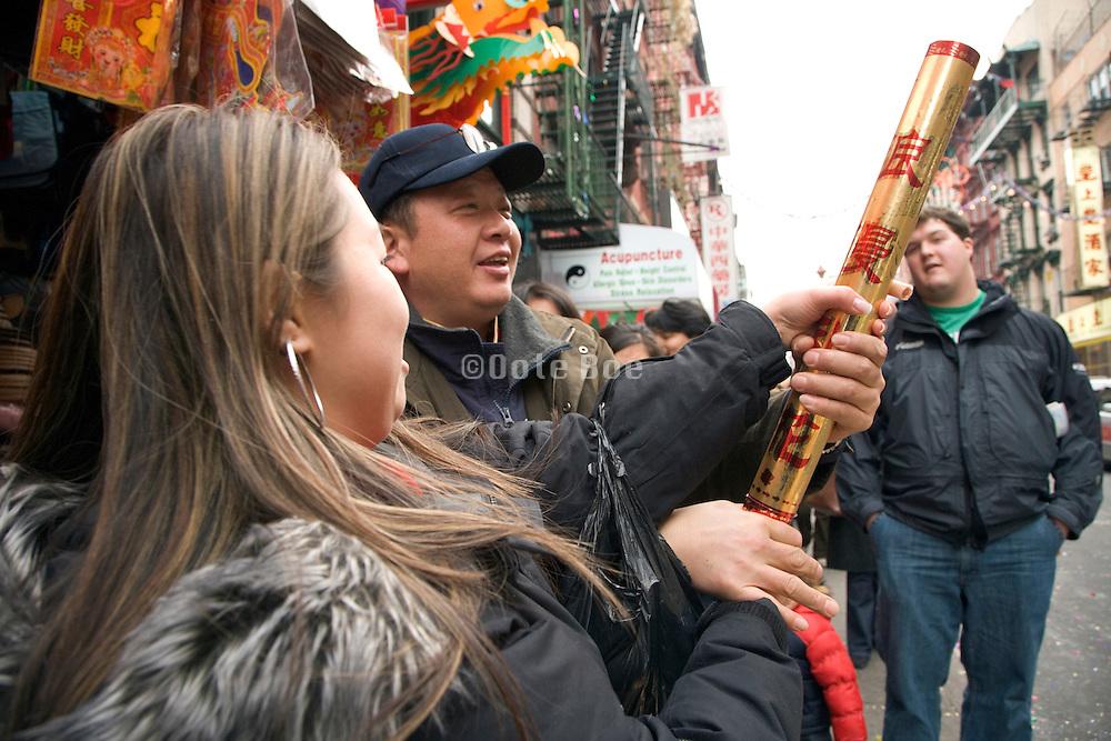 New Year celebration Chinatown New York City shooting confetti