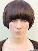 Rosie, a young Mod girl with a bowl haircut, Southend, UK 2006
