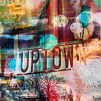 A photo collage of Uptown Minneapolis created with photos and paint textures.