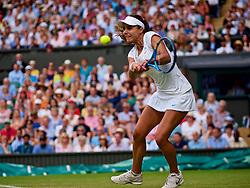 LONDON, ENGLAND - Wednesday, July 4, 2018: Viktoriya Tomova (BUL) on day three of the Wimbledon Lawn Tennis Championships at the All England Lawn Tennis and Croquet Club. (Pic by Kirsten Holst/Propaganda)