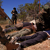 "A vigilante patrol detains undocumented migrants entering the United States through ranch in eastern San Diego, California. A 3000% increase in migrant traffic in eastern San Diego is the result of Operation Gatekeeper pushing aliens into the region. Ranchers have resorted to vigilantism to combat the influx. ""it's an invasion,"" said the leader of the vigilante patrol. Please contact Todd Bigelow directly with your licensing requests. PLEASE CONTACT TODD BIGELOW DIRECTLY WITH YOUR LICENSING REQUEST. THANK YOU!"