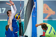 Katowice, Poland - 2017 September 03: (R) Athlete Sergey Moiseenko from SO Russia spikes the ball while final match between SO Russia and SO Finland during European Unified Volleyball Tournament 2017 at Spodek Hall on September 03, 2017 in Katowice, Poland.<br /> <br /> Adam Nurkiewicz declares that he has no rights to the image of people at the photographs of his authorship.<br /> <br /> Picture also available in RAW (NEF) or TIFF format on special request.<br /> <br /> Any editorial, commercial or promotional use requires written permission from the author of image.<br /> <br /> Image can be used in the press when the method of use and the signature does not hurt people on the picture.<br /> <br /> Mandatory credit:<br /> Photo by © Adam Nurkiewicz / Mediasport