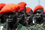 SPLA soldiers stand at attention during the official independence day ceremony. After decades of conflict, Southern Sudan declared independence from the North on July 9th, 2011. Government officials, foreign dignitaries and ordinary people came to the John Garang Memorial in the capital from all over the country and the world to celebrate the historic occation..Juba, South Sudan. 09/07/2011..Photo © J.B. Russell