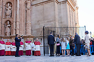 Queen Letizia of Spain, King Felipe VI of Spain, Princess Sofia, Crown Princess Leonor, King Juan Carlos of Spain, Queen Sofia of Spain attend Easter Mass at the Cathedral of Palma de Mallorca on April 1, 2018 in Palma de Mallorca, Spain
