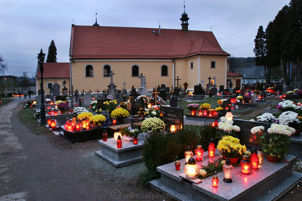 At the Bone Chapel complex at Kudowa Zdroj, Poland. (main church on All Saints Day with decorated graves with candles).