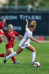NORMAL, IL - August 10:  Ashley Santos during a nonconference exhibition women's soccer match between the Southern Illinois Edwardsville Cougars and the Illinois State Redbirds August 10 2019 on Adelaide Street Field in Normal IL (Photo by Alan Look)