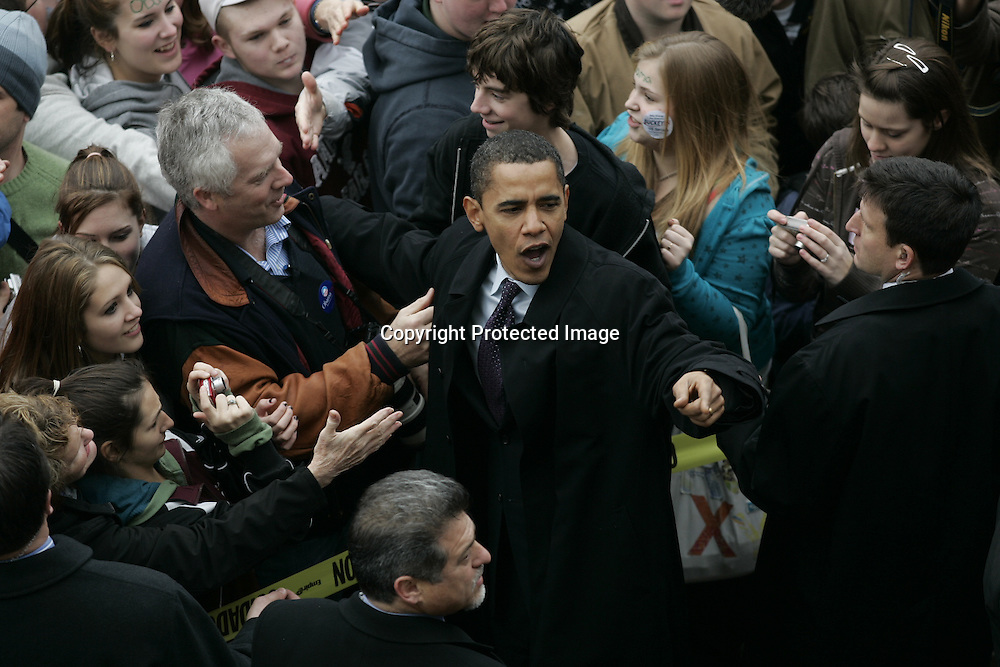 U.S. Democratic Presidential candidate Senator Barack Obama (D-IL) greets supporters on the street that were not able to get into a campaign stop due to overcrowding in Lebanon, New Hampshire January 7, 2008.