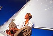 Evening sail on Jordanelle Reservoir near Park City, Utah, USA