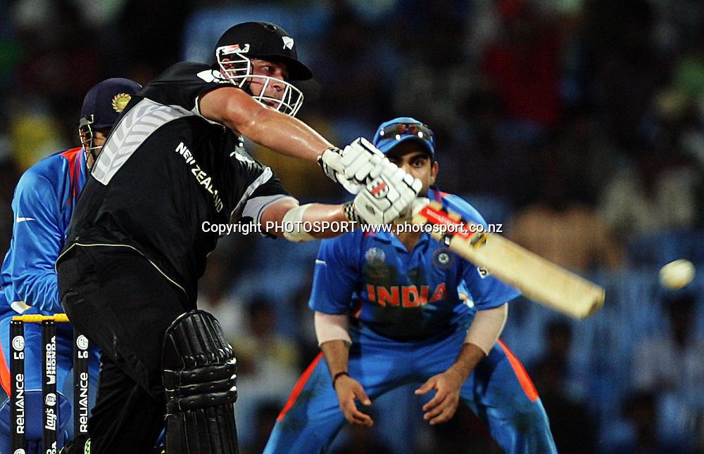 Jesse Ryder batting. India v New Zealand 2011 ICC World Cup Warm up game. MA Chidambaram Stadium, Chennai, India. 16 February 2011. Photo: photosport.co.nz
