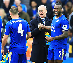 Leicester City Manager Claudio Ranieri celebrates with captain Wes Morgan at full time  - Mandatory by-line: Matt McNulty/JMP - 24/04/2016 - FOOTBALL - King Power Stadium - Leicester, England - Leicester City v Swansea City - Barclays Premier League