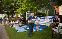 """Temple B""""nai Israel's annual Jewish Food Festival brought a large crowd for their white elephant sale as well as their specialty foods under the tent on Sunday.  (Karen Bobotas/for the Laconia Daily Sun)"""