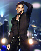"Recording artist, Ricky Martin performs his hit song, ""Loaded"" at the Miss Universe competition in Bayamon, Puerto Rico, May 11, 2001."
