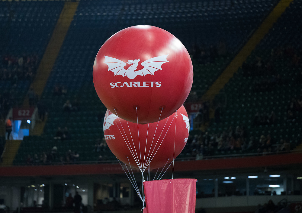 Balloons with Scarlets branding <br /> <br /> Photographer Simon King/Replay Images<br /> <br /> Guinness PRO14 Round 21 - Dragons v Scarlets - Saturday 28th April 2018 - Principality Stadium - Cardiff<br /> <br /> World Copyright © Replay Images . All rights reserved. info@replayimages.co.uk - http://replayimages.co.uk