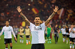 ROME, ITALY - Wednesday, May 2, 2018: Liverpool's Dejan Lovren celebrates after the 7-6 aggregate victory over AS Roma during the UEFA Champions League Semi-Final 2nd Leg match between AS Roma and Liverpool FC at the  Stadio Olimpico. (Pic by David Rawcliffe/Propaganda)