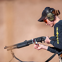 102613       Cable Hoover<br /> <br /> State police officer Elizabeth Armijo reloads her shotgun during the inter-agency shooting competition in Milan Saturday.