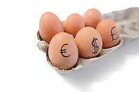Eggs with currency symbols on it