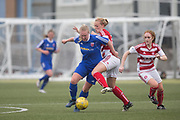 Farmington's Caroline Heron bursts past Hamilton's Jade Lindsay- Forfar Farmington v Hamilton Academical in the SWPL Premier League One at Station Park, Forfar, <br /> <br /> <br />  - &copy; David Young - www.davidyoungphoto.co.uk - email: davidyoungphoto@gmail.com