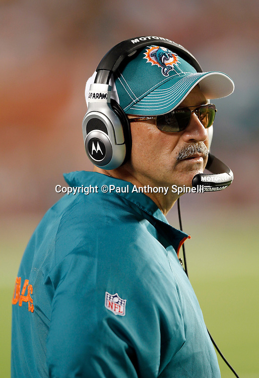 Miami Dolphins head coach Tony Sparano looks on during the NFL week 11 football game against the Chicago Bears on Thursday, November 18, 2010 in Miami Gardens, Florida. The Bears won the game 16-0. (©Paul Anthony Spinelli)