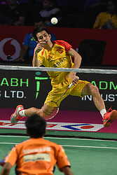January 13, 2018 - Hyderbad, Telangana, India - C.W.Feng of Bengaluru Blasters in against S Verma of Ahmedabad Smash Masters in PBL 2nd Semi Final Bengaluru Blasters Vs Amhedabad Smash Masters (Credit Image: © Varun Kumar Mukhia/Pacific Press via ZUMA Wire)
